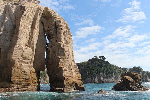 Sea, New Zealand, Wave, Coast, Nature, Rocky Coast