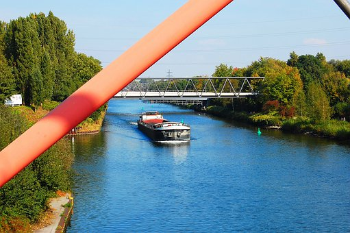 Channel, Ship, Rhine Herne Canal, Bridge, Gelsenkirchen