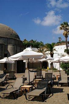 Greece, Rhodes, Spa, Kallithea, Parasol, Sun Lounger