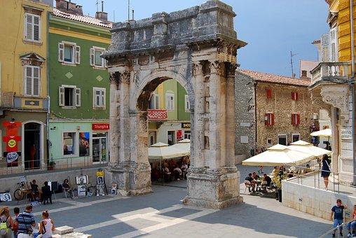 City, Street, Houses, People, Arch Sergius, Pula
