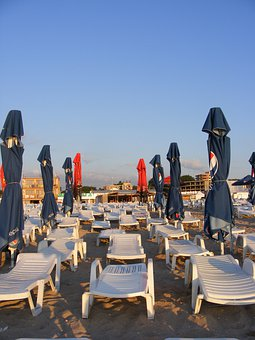 Empty, Beach, Sunrise, Sun, Loungers, Umbrellas