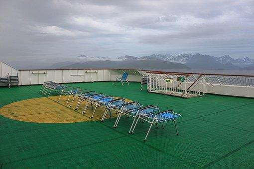 Sun Loungers, Deck, Ship Deck, Cruise, Blue, Deck Chair