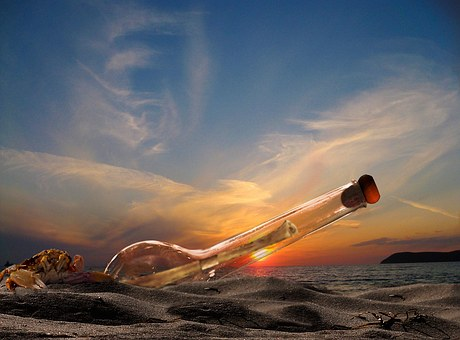 Sea, Beach, Message In A Bottle, Beach Sea, Sunset