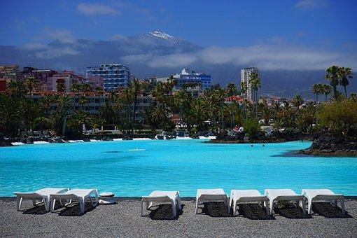 Sun Loungers, Swimming Pool, City, Puerto De La Cruz