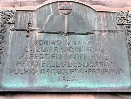 Plaque, The Hague, Constitution, King William 2