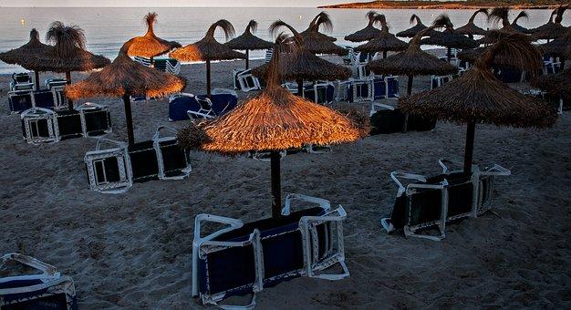 Beach, Sun Loungers, Holiday, Sand Beach, Tourism