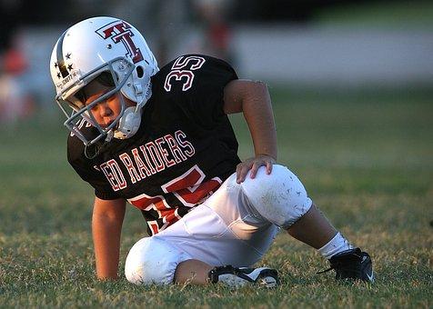 Football, Youth League, Player, Helmet, Uniform, Fallen