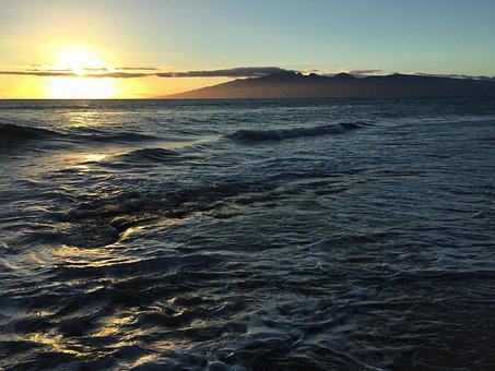Sunset, Ocean, Hawaii, Swell, Waves, Mountains, Sea