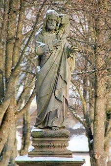 Winter, Cemetery, Sculpture, Jesus, Shepherd, Pastor