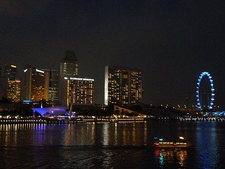 Cityscape, Singapore, Night, Architecture, Building
