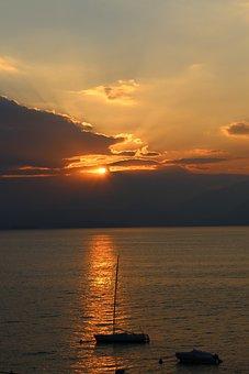 Garda, Clouds, Sun, Sailing Boats, Abendstimmung