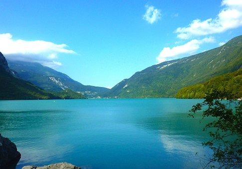 Molveno Lake, Italy, Lake, Water, Sky, Clouds