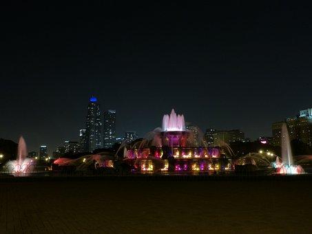 Night, Fountain, City, Water, Light, Cityscape