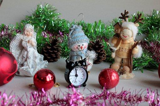 Snegovichёk, Christmas Decorations, Deer, Clock