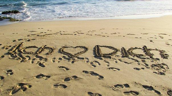 Love, Romance, Heart, Beach, Sand Inscription, Romantic
