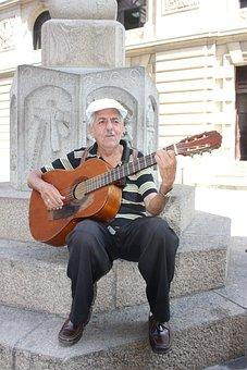 Cuba, Havana, Guitar, Man, Street, Old, Music, Paly