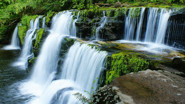 Waterfall, Moss, Nature, Green, Water, Natural, Forest