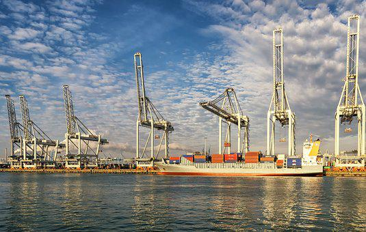 Rotterdam, Port, Crane, Sky, Clouds, Netherlands