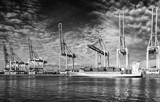 Ship, Port, Crane, Delete, Unloading, Rotterdam
