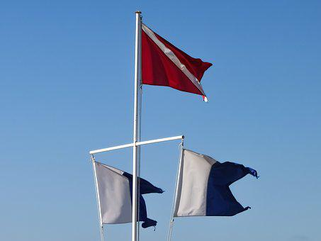 Flags, Navigation Flags, Marine, Worn Out, Waving, Wind
