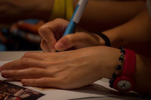 Writing, Hands, Girl, Beautiful Girl, Calligraphy