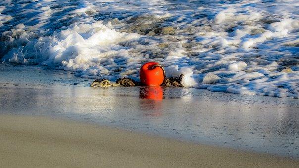Buoy, Orange, Sea, Beach, Reflection, Bubbles, Foam