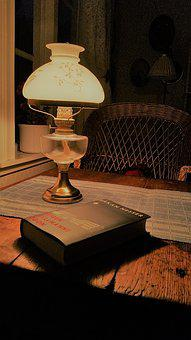 Paraffin Lamp, Book, Reading, Holiday, Torp, Relaxation