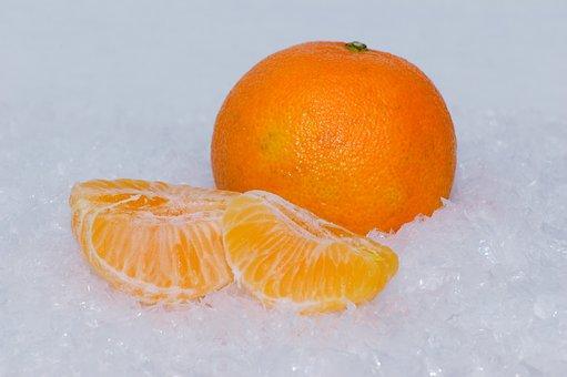 Mandarins, Citrus, Fruit, Snow, New Year's Eve