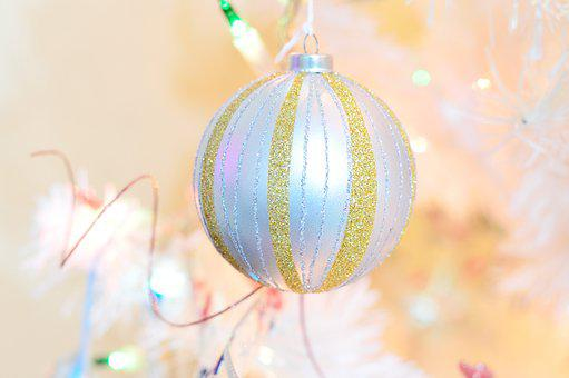 Sphere, Tree, White, Gold, Silver, Christmas, Pine