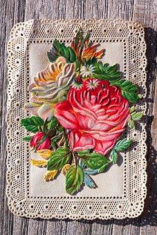 Devotional Picture, Santino, Top Edge, Bouquet, Rose