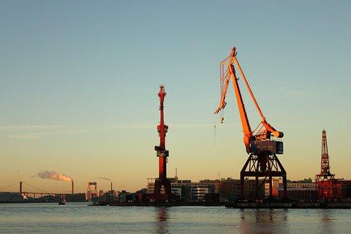 Gothenburg, Port, Cranes, Crane, Morning Sun, Sunrise