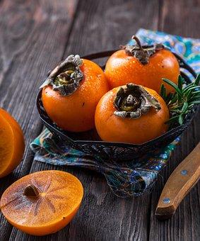 Persimmon, Fruit, Orange, Table, The Willow-wren