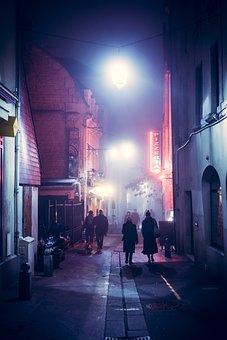Tourism, City, Pizzeria, Lights, Night, Shadows, France