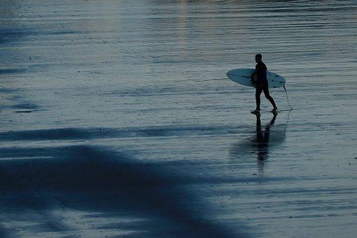 Surf, Beach, Sea, Surfer, Tablista, Sunset, Shore