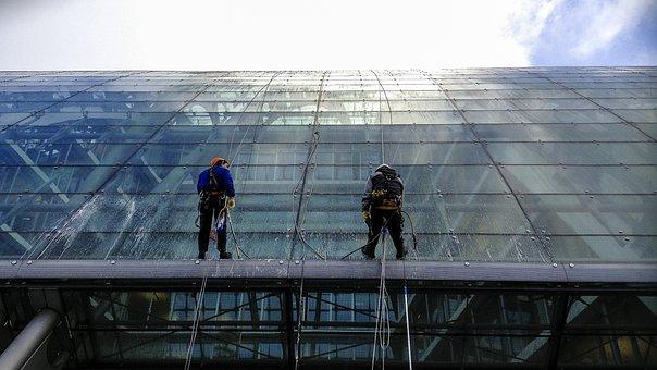 Hamburg, Window Cleaner, Glass, Achitecture, Building