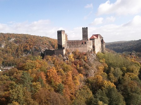 Hardegg, Castle, Austria, Trees, Autumn, Forest, Nature