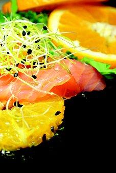 Salad, Orange, Salmon, Eating, Meal, Fruit, Lean