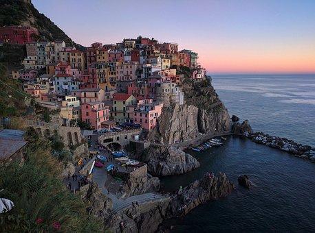 Vernazza, Town, Scenery, Reflection, Sea, Quiet, Port