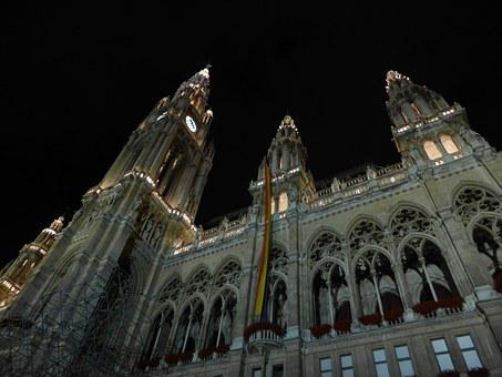 Austria, Vienna, Town Hall, In The Evening