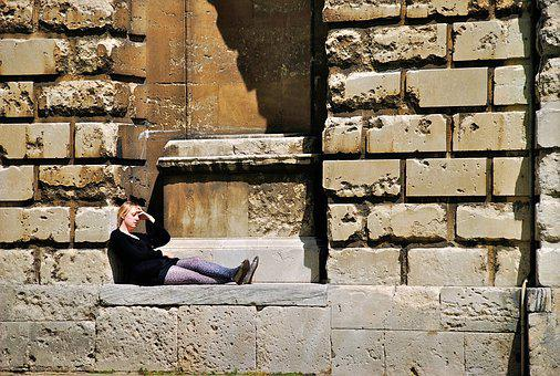 Woman, Oxford, University, Student, Tired, Outdoors