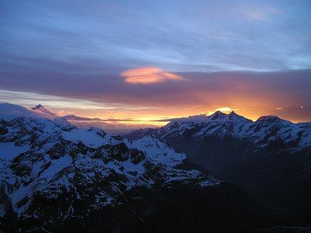 Mountains, Alpine, Sunrise, Morgenrot, Twilight
