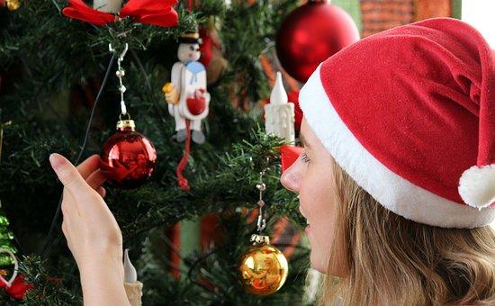 Christmas, Christmas Tree, Child, Young Woman, Marvel