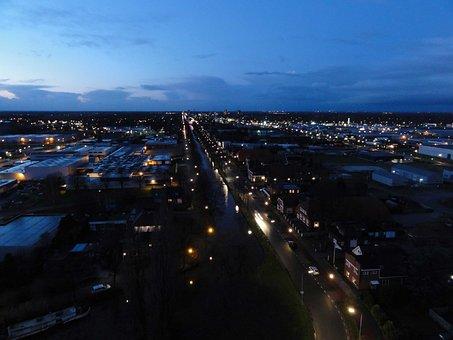Stadskanaal, Netherlands, Night, Evening, Sky, Clouds