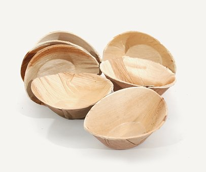 Round, Plates, Palm Leaf, Material, Dishware, Wooden
