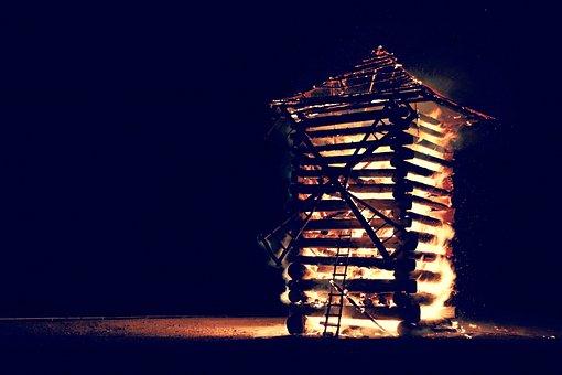 Windmill, Wood, Fire, Flames, Night, Dark