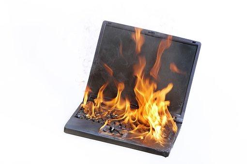 Laptop, Burning, Fire, Stress, Support, Copmuter