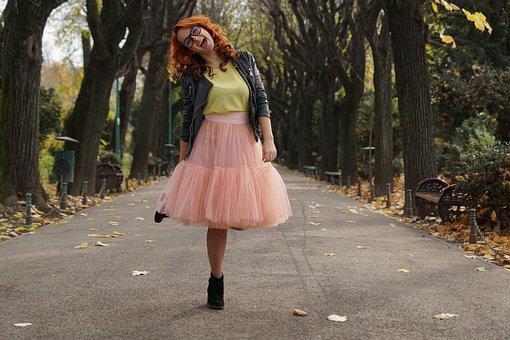 Girl, Net, Skirt, Trees, Autumn, Pink Skirt, Fashion