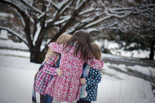 Girls, Sisters, Snow, Winter, Happy, Childhood, Young