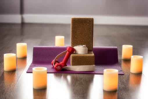 Yoga, Candle, Block, Mat, Health, Training, Weights