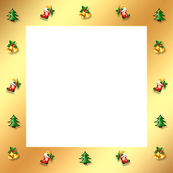 Christmas, Gold, Frame, Border, 3d, Ornaments, Stocking